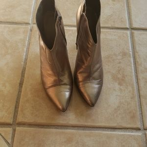 Cute pewter or light gold leather booties